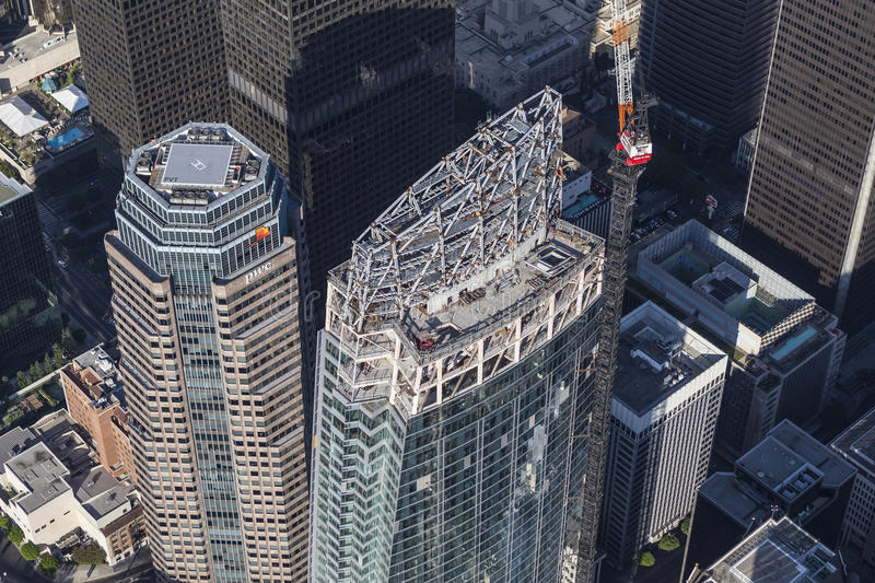 Los Angeles Wilshire Grand Center Construction Aerial. Los Angeles, California, USA - August 6, 2016: Wilshire Grand Center in Los Angeles nears completion. The stock photo