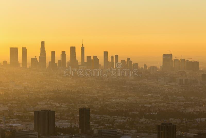Los Angeles y Hollywood Dawn Cityscape foto de archivo