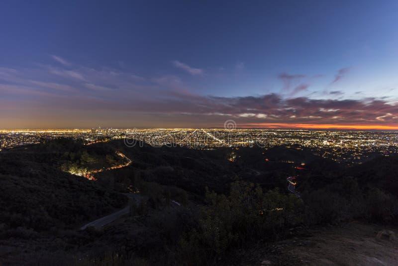 Los Angeles zmierzch w Griffith parku obrazy royalty free