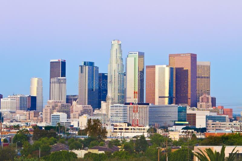 Los- AngelesSkyline auf einem klaren, kühlen Morgen lizenzfreie stockfotos
