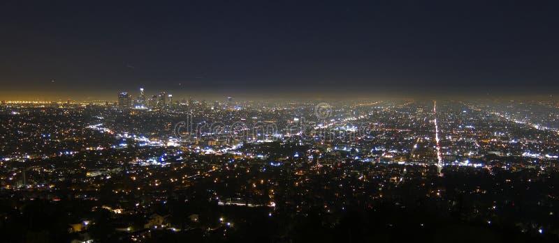 Los- Angelesstadt nachts stockfotografie