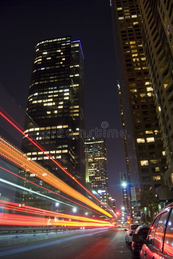 Los- Angelesstadtleuchten stockfoto