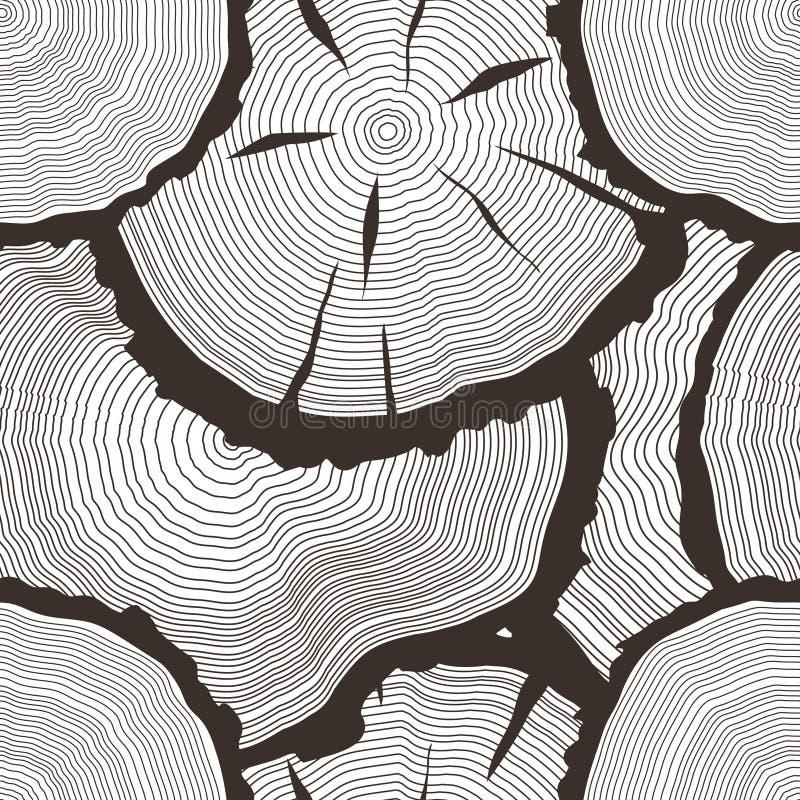 Los anillos de árbol del vector fijados, concepto del consideraron para cortar el tronco de árbol, iconos planos de la serrería,  stock de ilustración