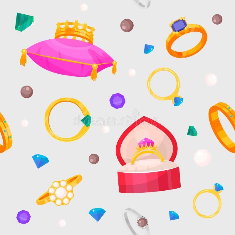 Los anillos de bodas fijan el oro del símbolo del compromiso que la joyería de plata para el matrimonio de la oferta se casa la m ilustración del vector
