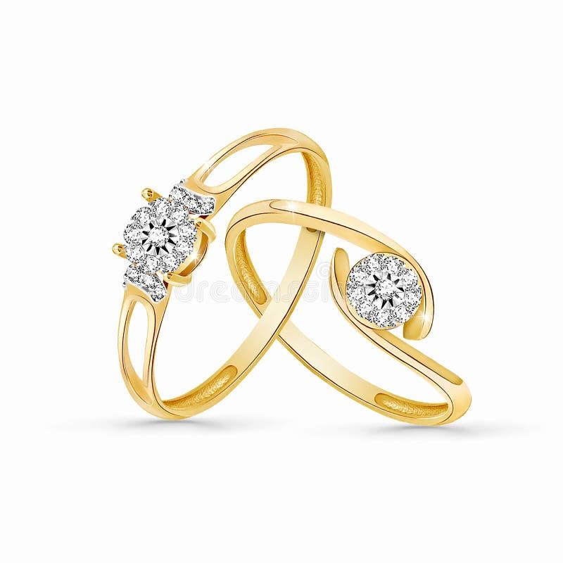 Los anillos de bodas fijaron del oro y del metal plateado en el fondo blanco imágenes de archivo libres de regalías