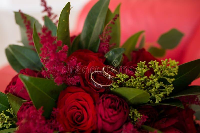 Los anillos de bodas de oro mienten en un brote de la rosa del rojo Mentira de los anillos de bodas en un brote de flor fotos de archivo