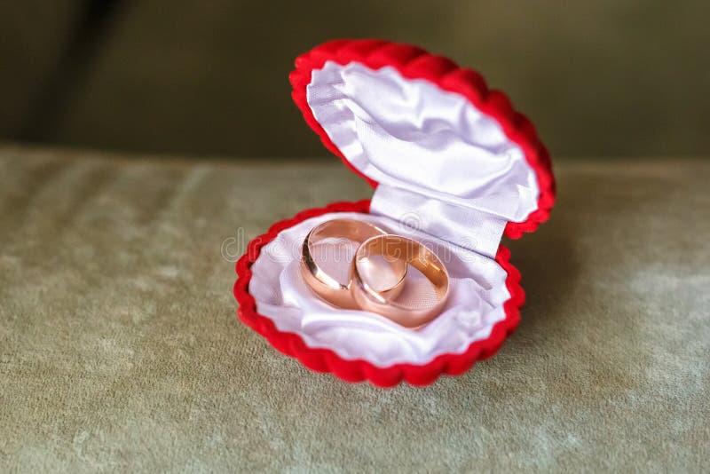 Los anillos de bodas para los recienes casados mienten en una caja roja bajo la forma de cáscara fotos de archivo
