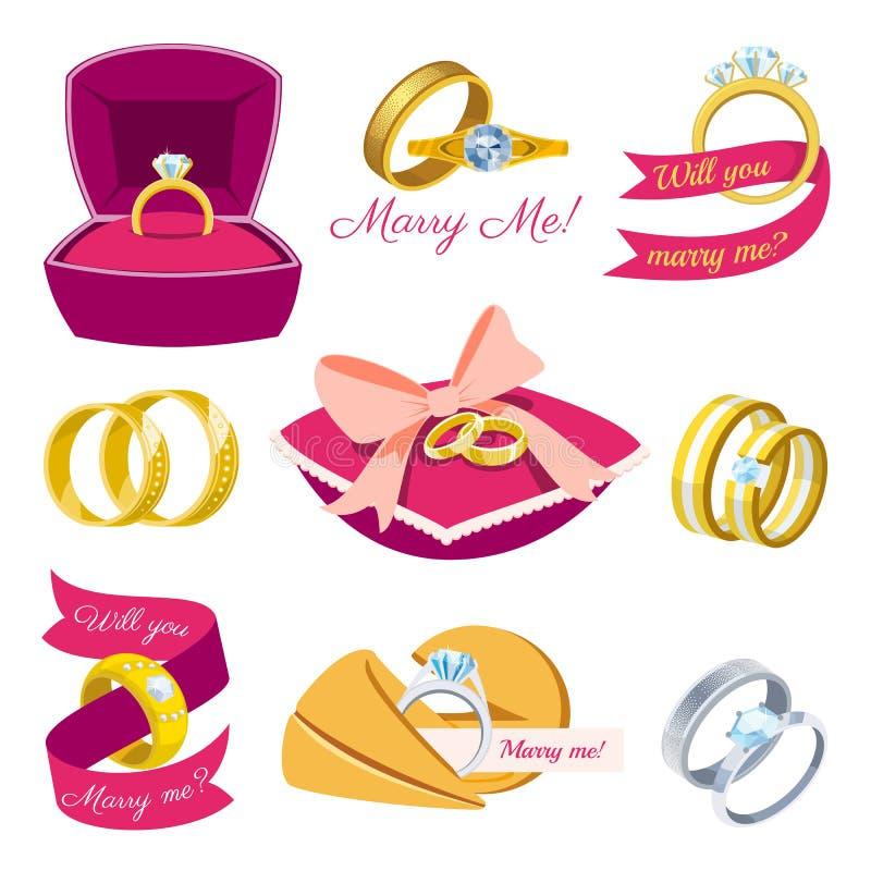 Los anillos de bodas que la joyería de la plata del oro del símbolo del compromiso del vector para la boda de la oferta se casa l libre illustration