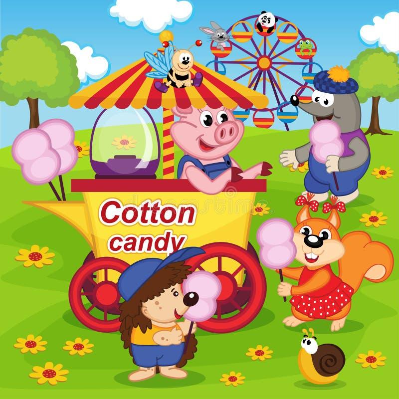 Los animales comen el caramelo de algodón en el parque de atracciones ilustración del vector