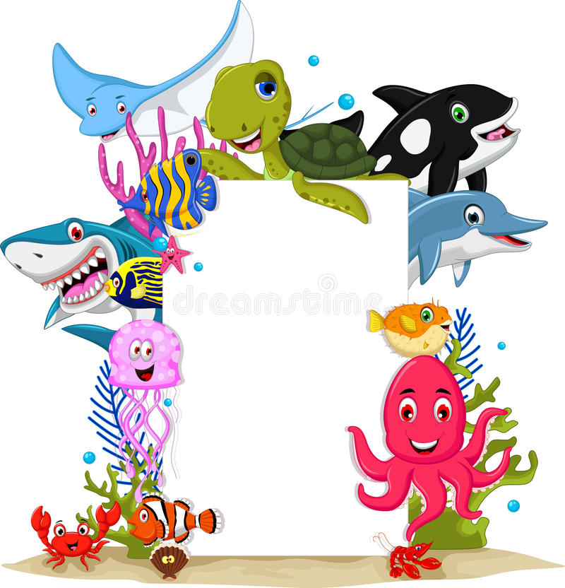 Los animales de mar de la historieta con la muestra en blanco para usted diseñan ilustración del vector