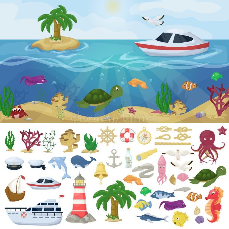 Los animales de mar marinos del océano de los barcos náuticos de la marina de guerra vector el ejemplo de la historieta de los pe stock de ilustración