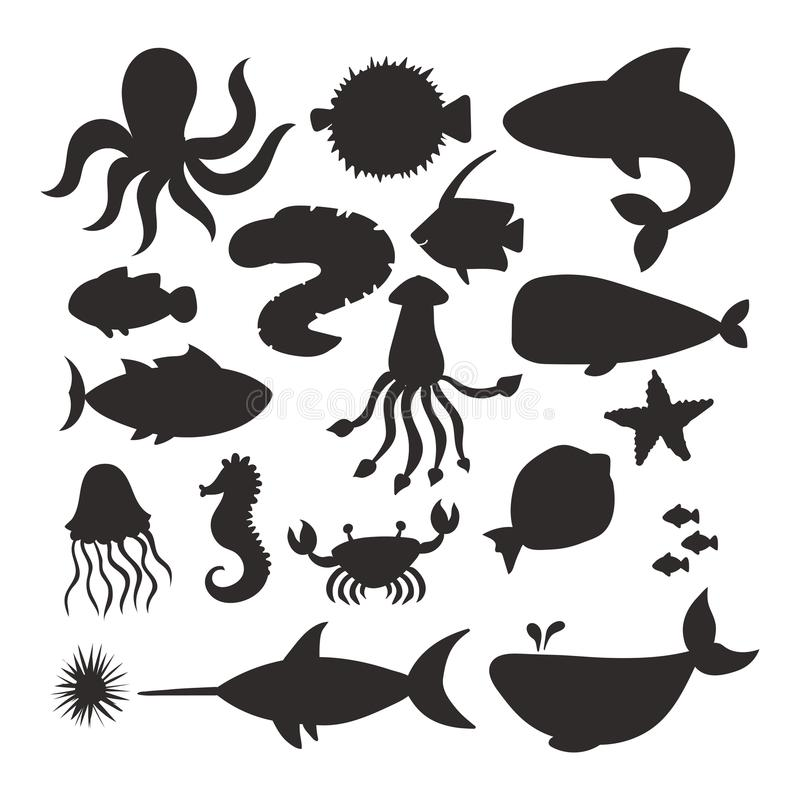 Los animales de mar vector el gráfico subacuático marino del agua de la vida del acuario de la fauna del océano de la historieta  stock de ilustración