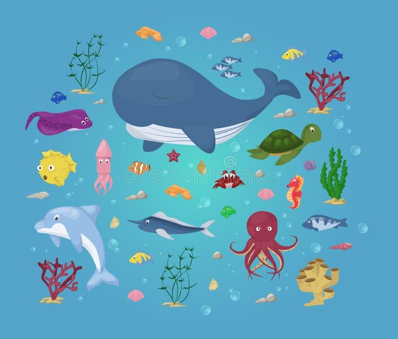 Los animales de mar vector vida acuática marina del carácter del agua submarina del ejemplo de la historieta de los pescados del  stock de ilustración
