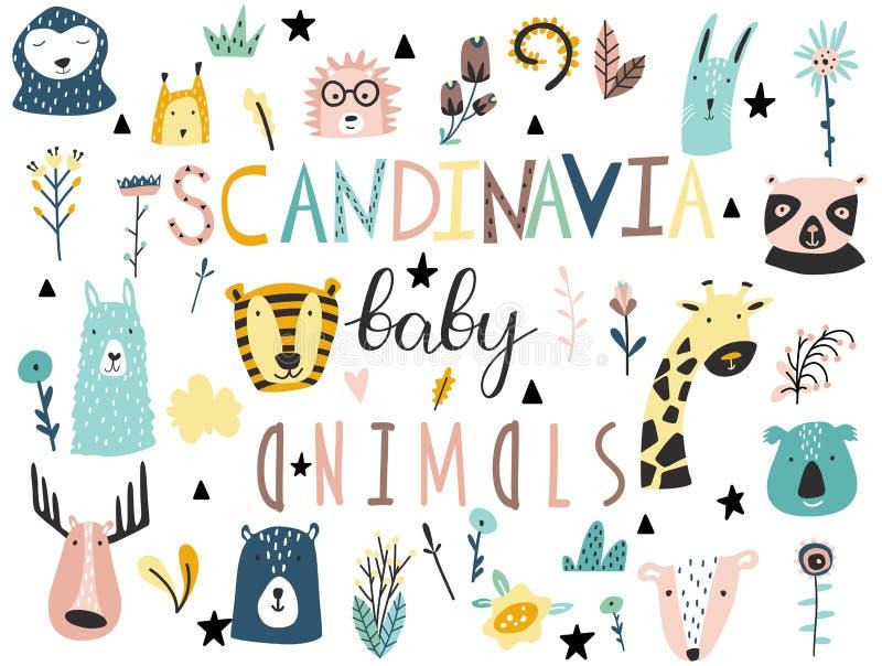 Los animales del bebé, las plantas, las flores y la otra colección de los elementos Estilo escandinavo stock de ilustración