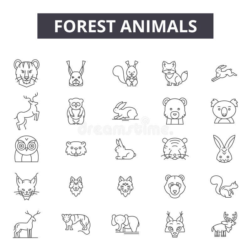 Los animales del bosque alinean los iconos, muestras, sistema del vector, concepto del ejemplo del esquema stock de ilustración