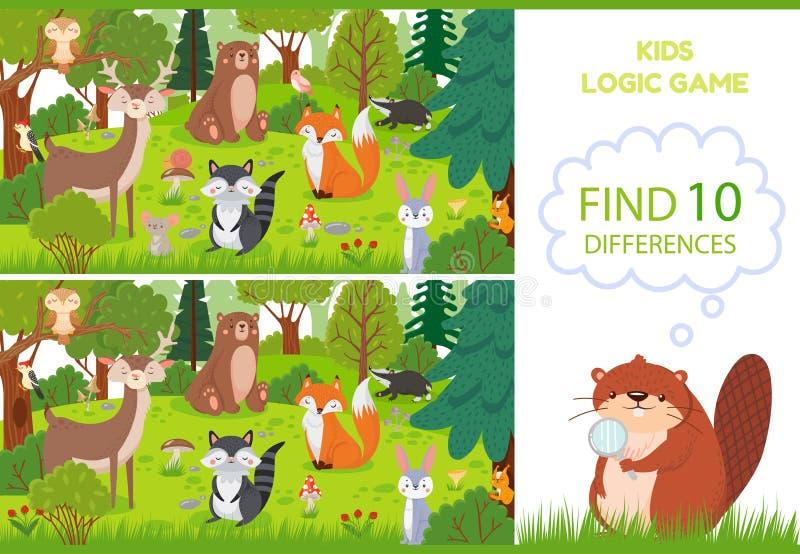 Los animales del bosque encuentran el juego de las diferencias Caracteres educativos de los juegos de los niños, animal del arbol stock de ilustración
