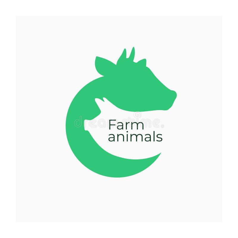 Los animales del campo firman Muestra de la comida de la carne stock de ilustración