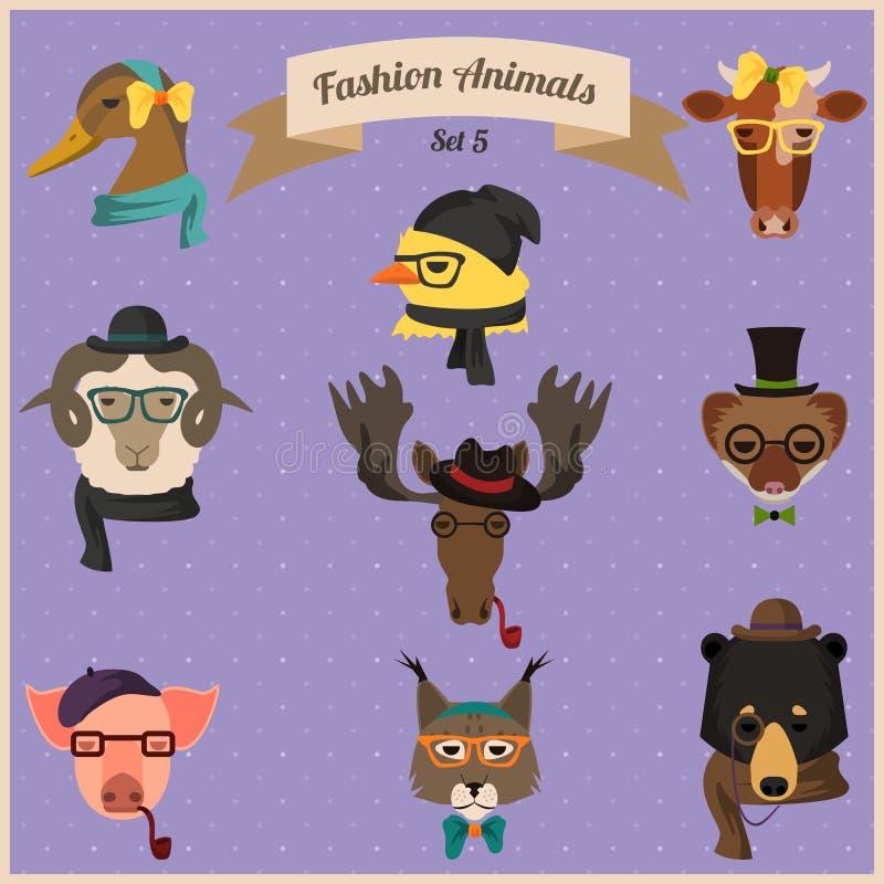 Los animales del inconformista de la moda fijaron 5 libre illustration