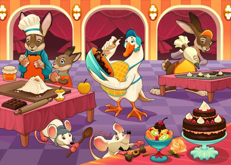 Los animales divertidos están cocinando las tortas y las galletas libre illustration