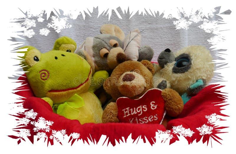 Los animales domésticos de la amistad feliz del oso y del feliz cumpleaños y de los niños aman y las flores y los teddys fotografía de archivo libre de regalías