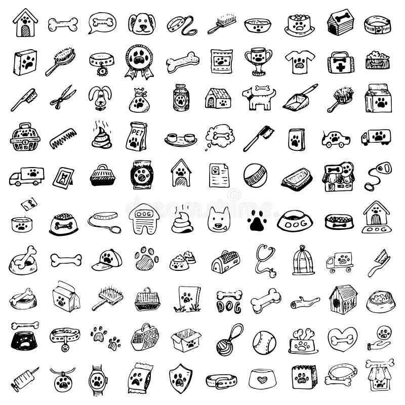 Los animales domésticos dibujados mano del garabato rellenan y suministran los iconos fijados Vector Illust stock de ilustración