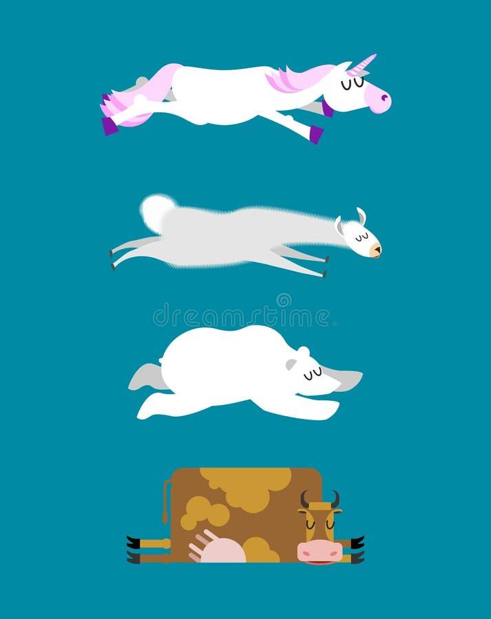 Los animales el dormir fijaron 3 Unicornio y oso polar Vaca y llama W ilustración del vector