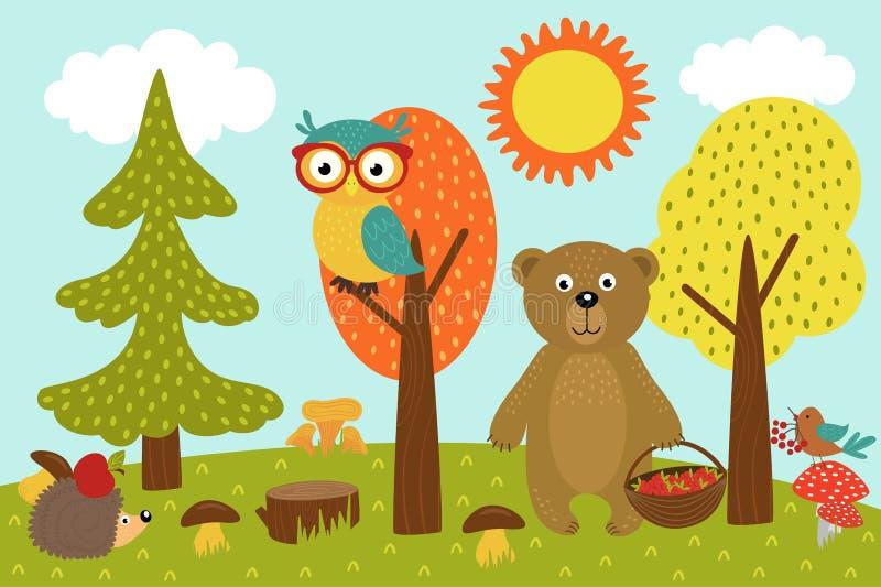 Los animales en bosque escogen setas y bayas stock de ilustración
