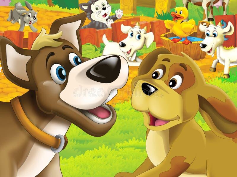 Los animales felices en la granja ilustración del vector