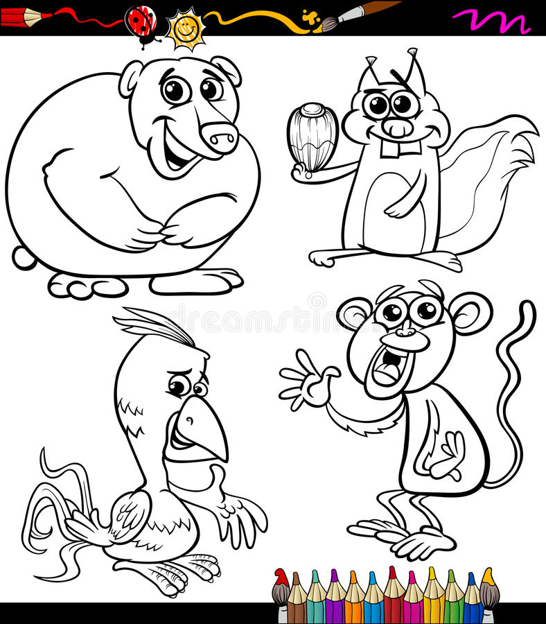 Download Los Animales Fijaron El Libro De Colorear De La Historieta Ilustración del Vector - Ilustración de alegre, mono: 41910242