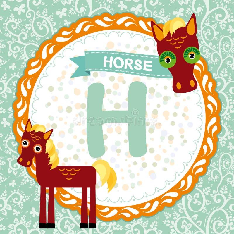 Los animales H de ABC son caballo El alfabeto inglés de los niños Vector ilustración del vector