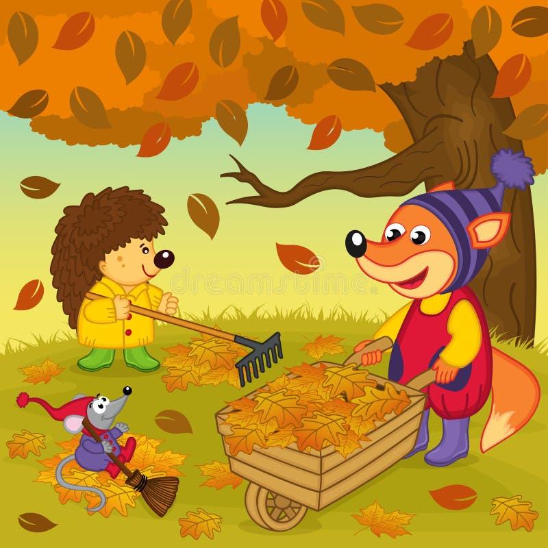 Los animales limpian las hojas en bosque libre illustration