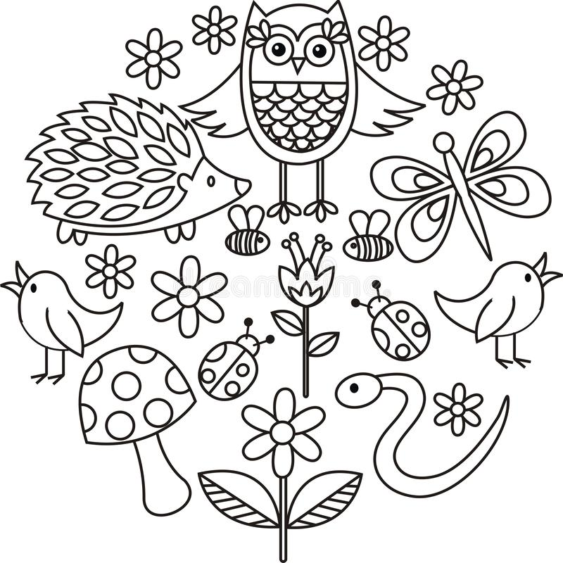 Los animales lindos garabatean vector en marco del círculo ilustración del vector