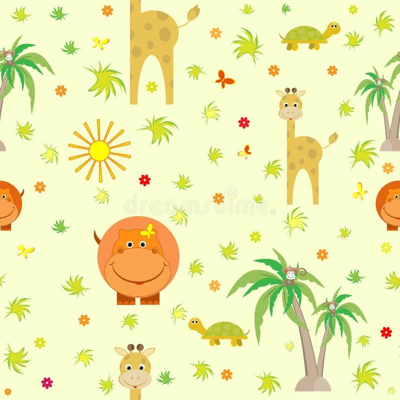Los animales lindos jirafa, hipopótamo, tortuga, historieta, palmeras, mono embroman el modelo inconsútil ilustración del vector