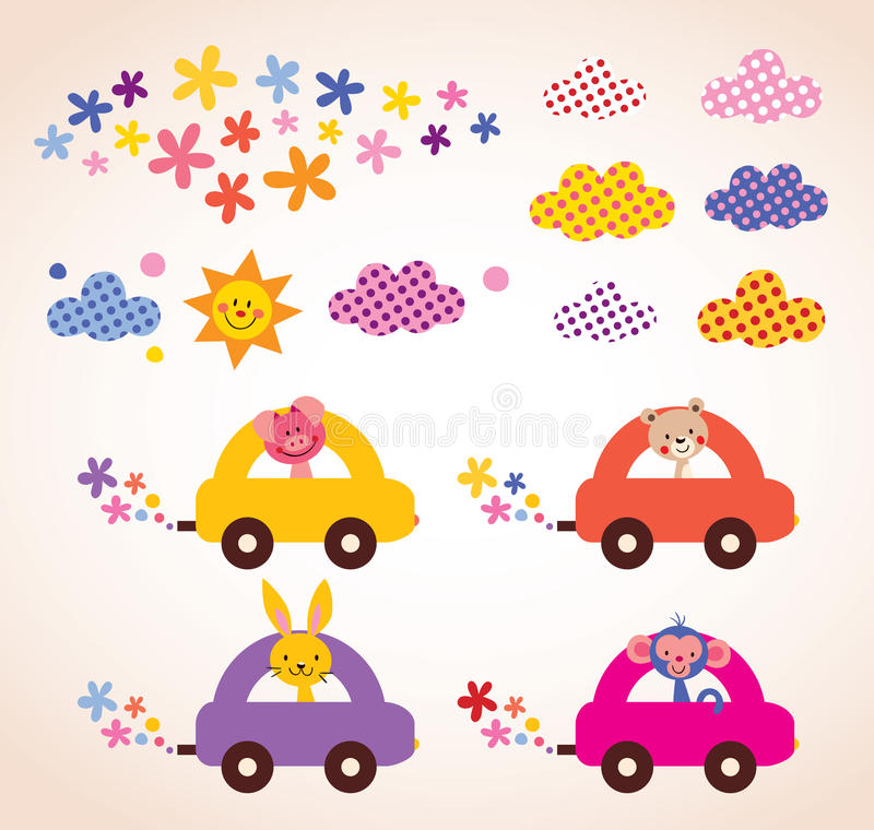 Los animales lindos que conducen la materia de niños de los coches diseñan el sistema de elementos libre illustration