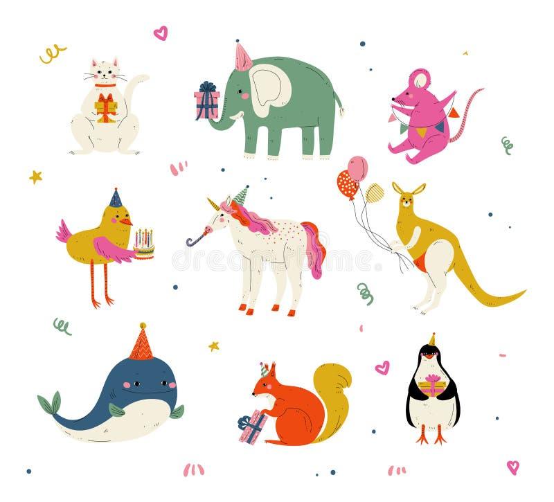 Los animales lindos que llevaban los sombreros del partido con las tortas de cumpleaños y las cajas de regalo fijaron, gato lindo ilustración del vector