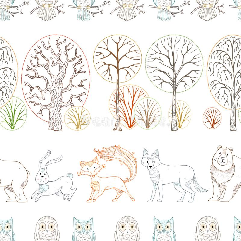 Los animales salvajes en bosque del otoño Vector el modelo inconsútil ilustración del vector