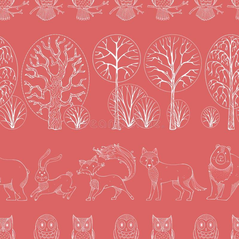 Los animales salvajes en bosque del otoño Vector el modelo inconsútil stock de ilustración