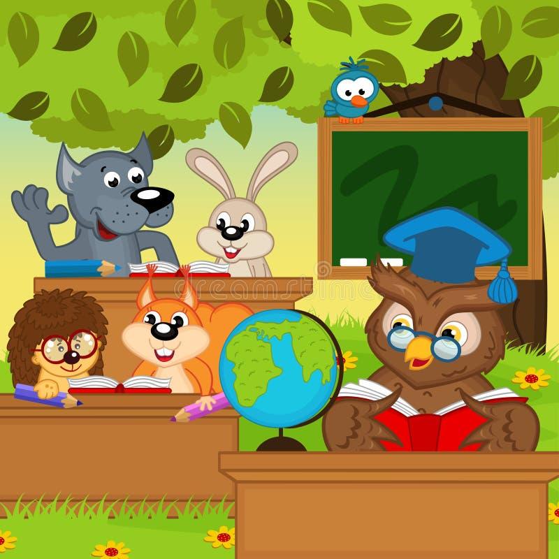 Los animales se sientan en los escritorios de la escuela en bosque ilustración del vector