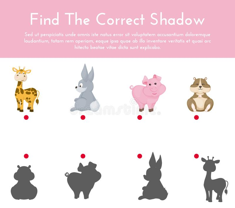 Los animales y sus formas sombrean el ejemplo a juego del vector del juego libre illustration
