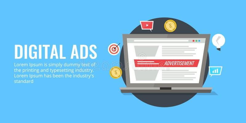 Los anuncios de Digitaces en línea exhiben concepto de la publicidad Bandera plana del vector del diseño libre illustration