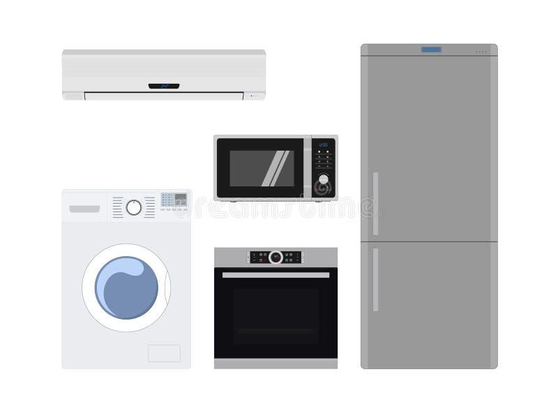 Los aparatos eléctricos del hogar fijaron imagen aislada del vector ilustración del vector