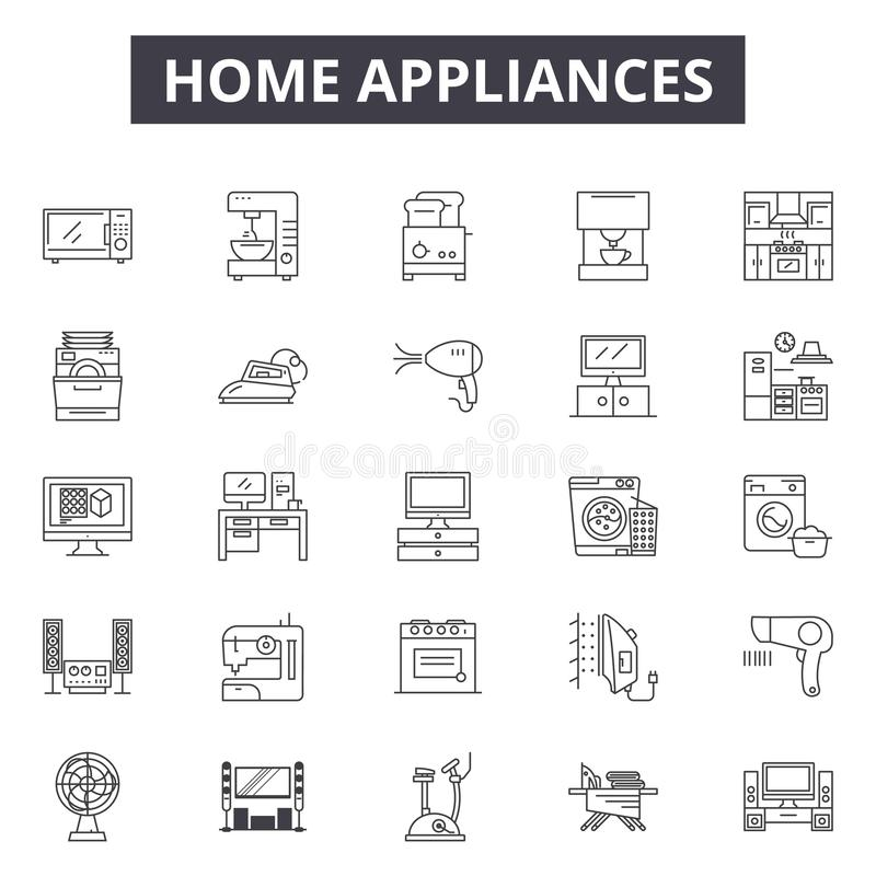 Los aparatos electrodomésticos alinean los iconos, muestras, sistema del vector, concepto linear, ejemplo del esquema stock de ilustración