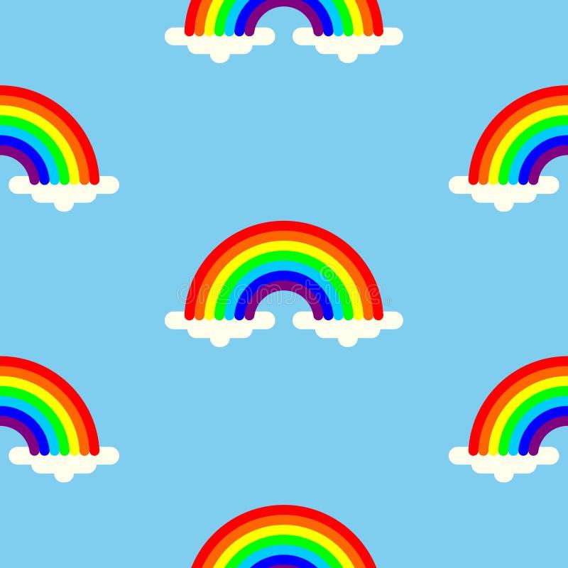 Los arco iris en nubes colorearon el fondo inconsútil ilustración del vector