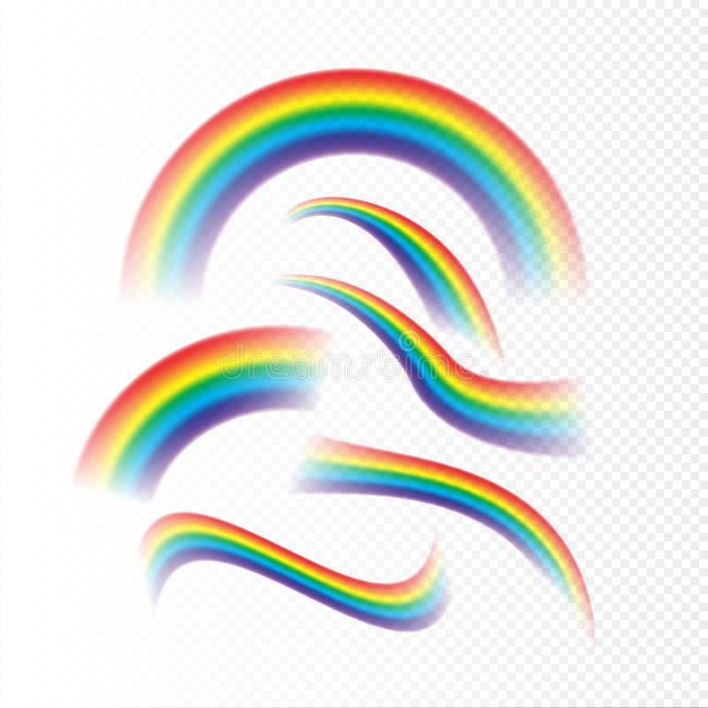 Los arco iris fijaron diversa forma realista en fondo transparente Concepto de diseño aislado vector del arco del arco iris libre illustration