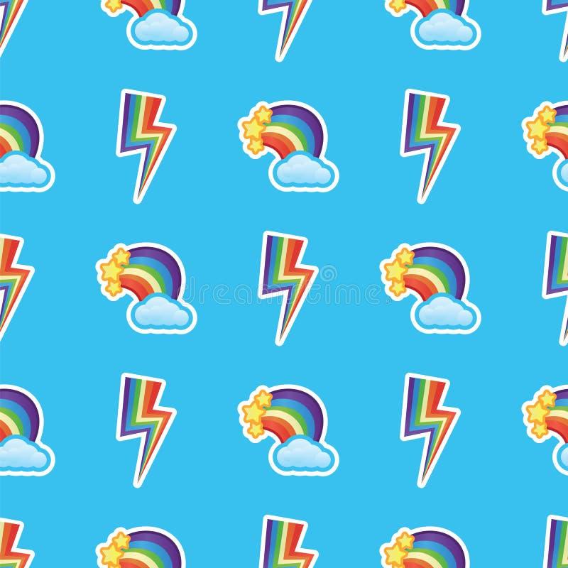 Los arco iris, las nubes blancas y las estrellas con rayos de los multicolors modelan el fondo Arco iris y nubes divertidos ilustración del vector