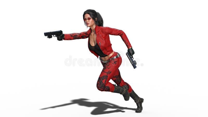 Los armas del tiroteo de la muchacha de la acción, mujer en el traje de cuero rojo que corre con las armas de la mano en el fondo stock de ilustración