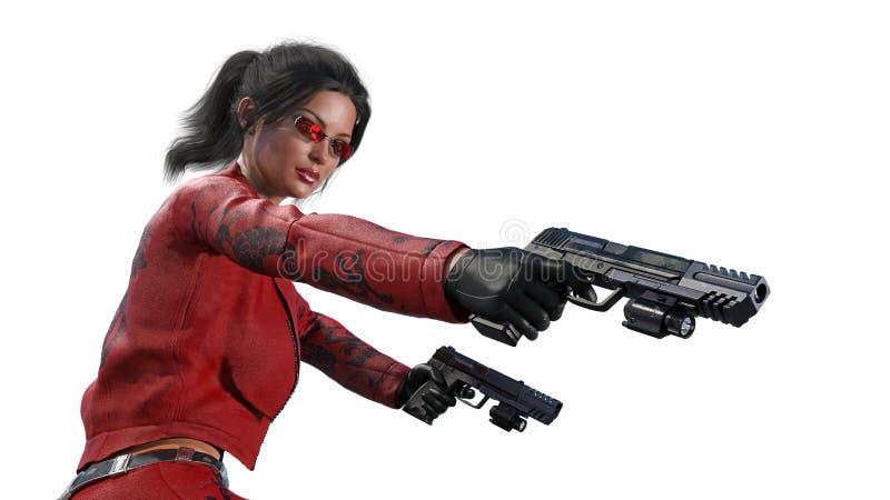 Los armas del tiroteo de la muchacha de la acción, mujer en traje de cuero rojo con las armas de la mano aisladas en el fondo bla ilustración del vector