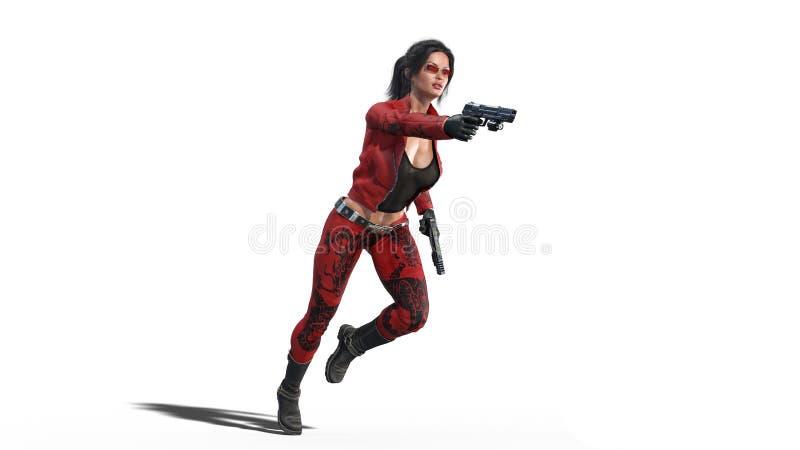 Los armas del tiroteo de la muchacha de la acción, mujer en traje de cuero rojo con las armas de la mano que corren en el fondo b ilustración del vector