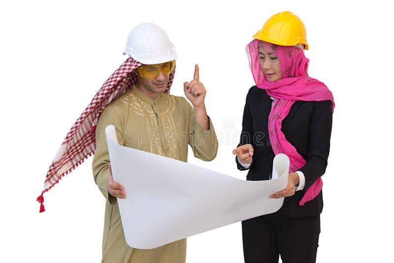 Los arquitectos árabes están planeando nuevo proyecto Fondo aislado fotografía de archivo libre de regalías