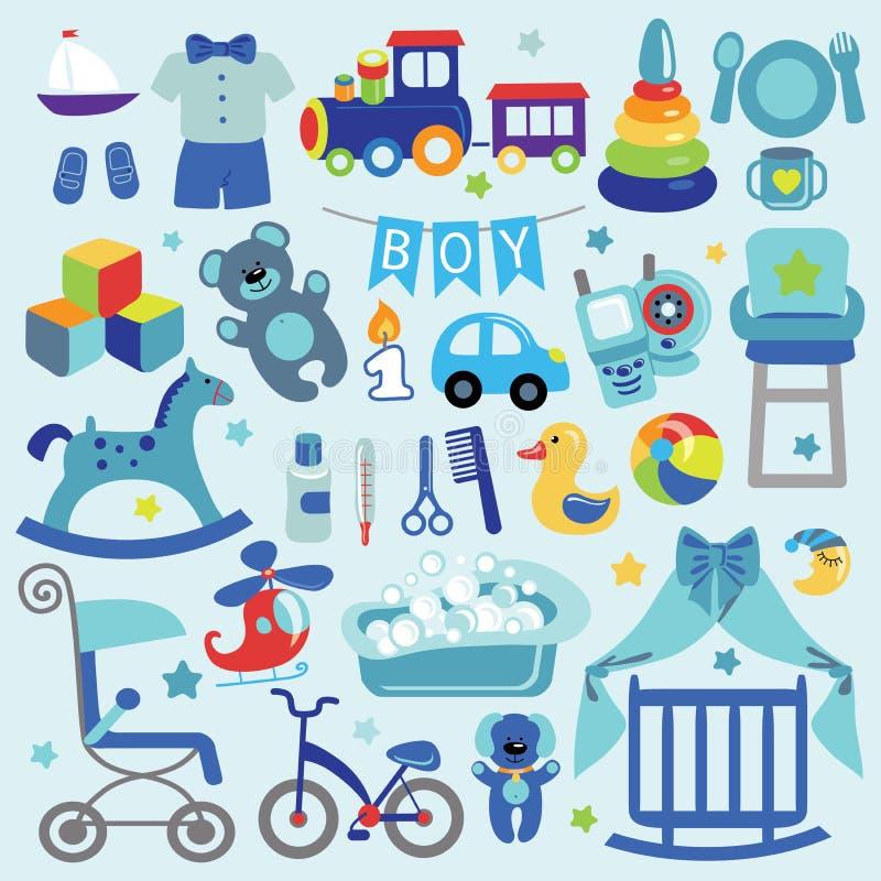Los artículos del bebé fijaron la colección Iconos de la fiesta de bienvenida al bebé ilustración del vector